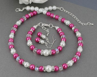 Hot Pink Necklace Hot Pink Pearl Necklace Set Hot Pink and White Necklace Bracelet Earrings Set Bridesmaid Gift Hot Pink Bracelet
