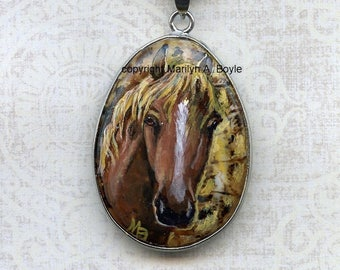 HORSE PENDANT HAND Painted, jewelry, one of a kind, wearable art, original art, red horse, 20 inch old gold color metal chain,