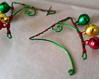 Jingle Bells Elf Ear Cuffs. Non Pierced. Unique and fun Stocking Filler.