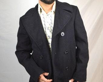 Vintage 1960s 60s Wool Overcoat --  USN United States Naval Navy Pea Coat - Size 36