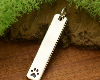 Sterling Silver Long Paw Print Stamping Blank