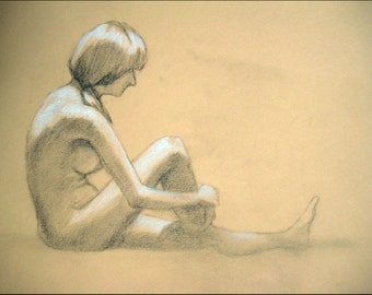 "Female Figure Drawing - Seated Nude Female Figure - original drawing, graphite and pastel on toned paper, 8x12 ""Emilie"""