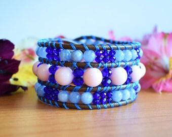 Cuff Bracelet, Leather Bracelet, Leather Beaded Bracelet, Triple Row Bracelet, Wrap Bracelet, Leather Jewelry, Boho Bracelet, One Of a Kind