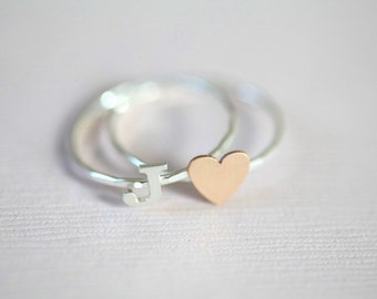 initial ring and heart ring set, personalized stack rings (gold filled tiny heart ring with sterling silver initial ring)
