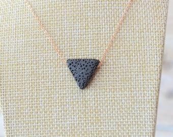 Triangle Lava Necklace, Essential Oil Necklace, Lava Necklace, Diffuser Necklace, Lava Stone Necklace, Oil Diffuser Necklace, Rose Gold Lava