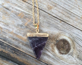 Amethyst Raw Crystal Triangle, Amethyst Necklace, Crystal Necklace, Triangle Necklace