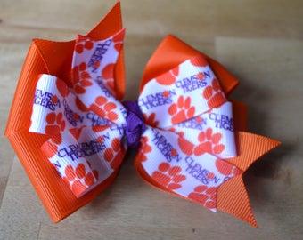 Clemson Tigers Hair Bow Football Stocking Stuffer