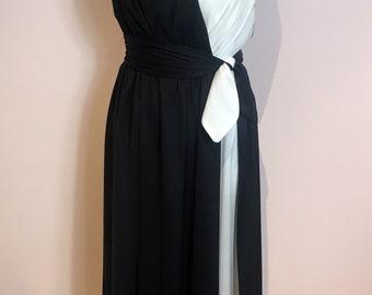 Vintage 1980s black and white John Charles jersey dress, Uk size 12