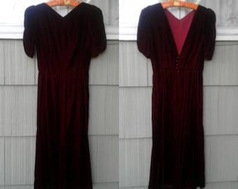 Backless Burgundy 70's Velvety Dress by Lanz Sz 8 S/M