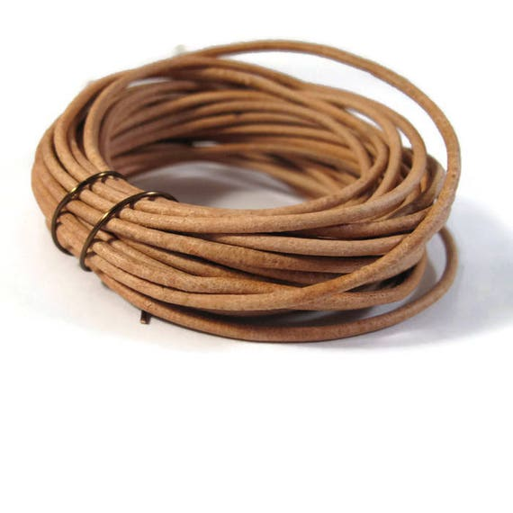 8 Feet of Natural Tan Leather Cord, 2mm Round Cord For Jewelry, Craft Supplies, Natural Light Brown Leather Cord
