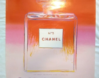 Andy Warhol Chanel No 5 French Perfume Pop Art Vintage Poster, 1997, 22x28, Pink