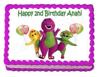 Barney party decoration edible cake image cake topper  frosting sheet