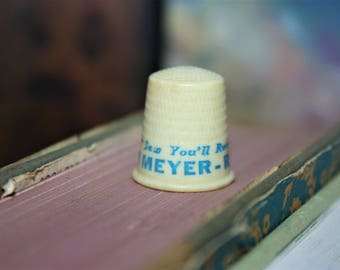 Vintage Advertising Thimble   Sew You'll Remember   Meyer Realty   Realtor Gift   Farmhouse Decor