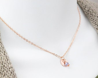 Rose gold Circle Disc Necklace