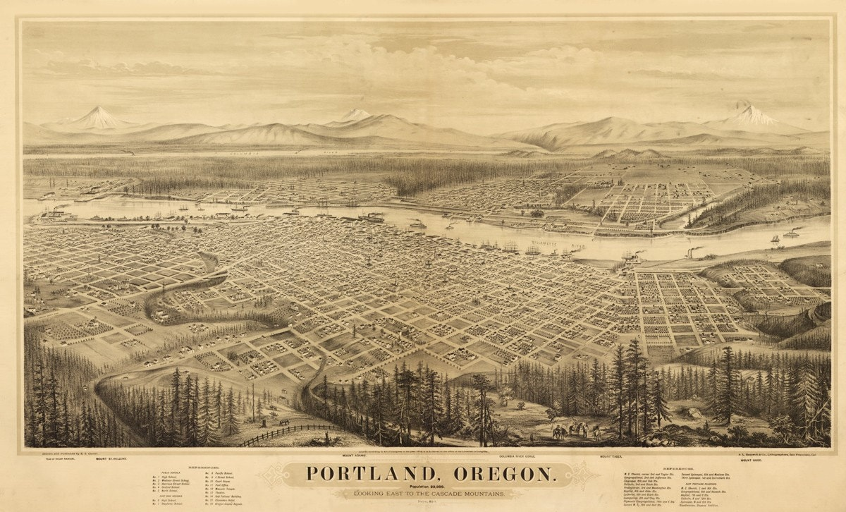 Vintage Map Portland Oregon 1879