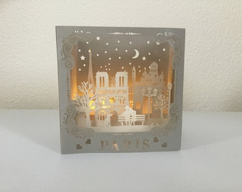 3D Mother's day card, Paris card, birthday card with led lights, 3D card
