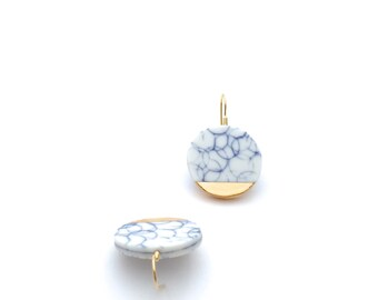 Porcelain Ceramic Earrings, blue and white porcelain, Gold dipped Earrings, porcelain Jewelry, geometric circle gold Earrings, Oeiceramics