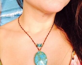 Beautiful & Unique Mosaic Blue Turquoise Necklace,