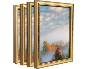 """Craig Frames, 8x12 Inch Aged Gold Picture Frame, Stratton .75"""" Wide, Set of Four (314GD0812L-4)"""