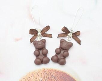 Teddy bear earrings chocolate