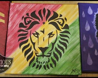 "Original 10x10 Hand Painted Rasta ""Iman Lion"" African Lion Rastafari Acrylic on Canvas"