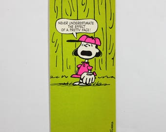 Vintage Peanuts Postcard Charlie Brown Lucy Charles Schulz Hallmark Cards - Never Underestimate the Effect of a Pretty Face!