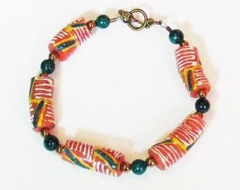 African Handmade Glass Bracelet, Red, Green, Ethnic, Fun