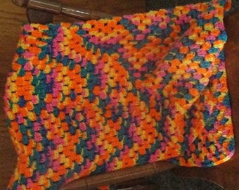 Crocheted granny square baby/lap afghan custom made in your choice of colors