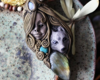 La Loba, Wolf Woman Necklace with Labradorite, Moonstone and Turquoise. Handcrafted Clay.