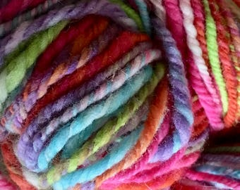 Spring Carnival Hand-spun Yarn 3 Ply Wool Polworth 4.1 oz by Housecats Hats 188 yards