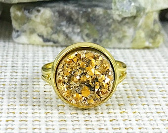 Gold Druzy Ring - Druzy - Adjustable Ring - Promise Ring - Statement Ring - Gold - Druzy Jewelry - Trend - Boho - Drusy Ring - Gold Ring -