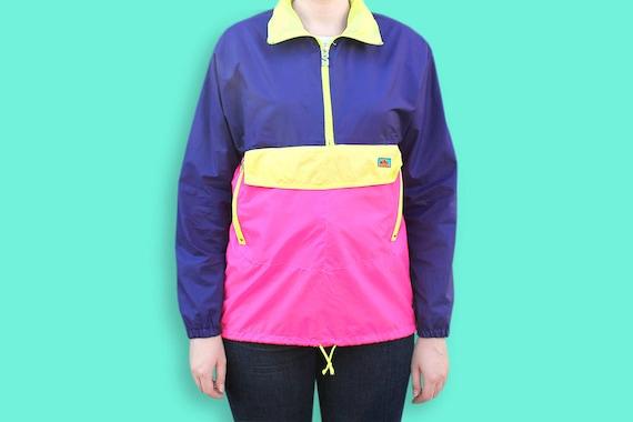 Vintage 1980's K-Way Waterproof Color Block Windbreaker / Retro Hip Hop, Rap Streetwear