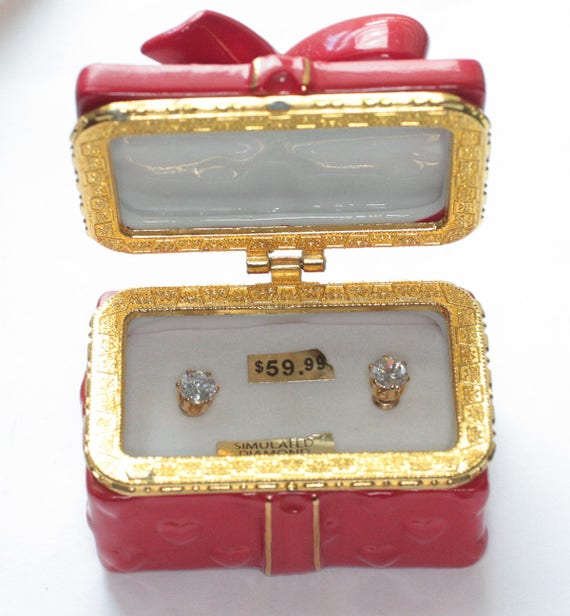 CZ Simulated Diamond Post Earrings with Red Ceramic Trinket Box Bow and Hearts