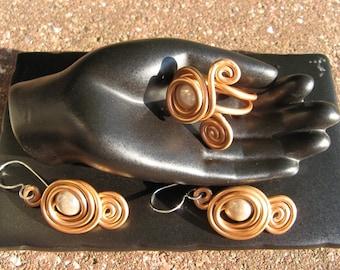 Fancy beige copper plated magic Pearl Earrings