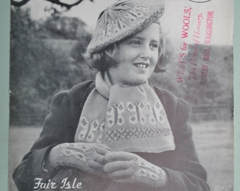 Vintage 30s 40s Fair Isle Knitting Pattern Butterfly Design Girl's Accessories Beret Hat Scarf Gloves Midgley & Catton No. 89 UK - original