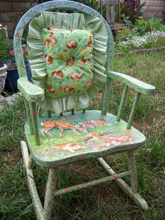 Childu0027s Rocking Chair Hand Painted Hand Made Pillow