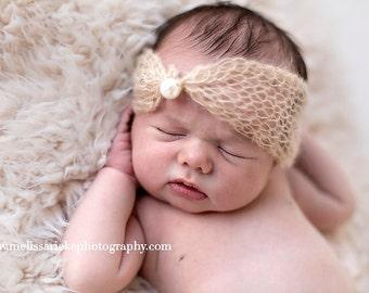 Beige Pearl Turban Mohair Headband Newborn Photography