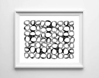 Abstract Watercolor Painting Black Circles Loops Minimalist art Geometric Wall art Large Abstract Print Minimal Contemporary Modern art