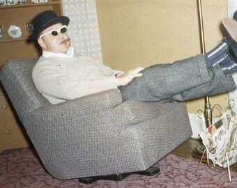 Vintage 35mm Photo Slide Whimsical Erv With A Cigar Man Smoking Cigar