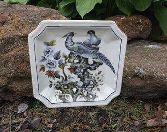 Vintage Hand Painted Square Bird Plate