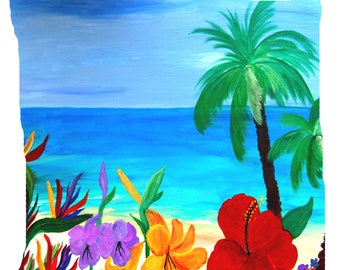 Tropical beach double sided art throw or body pillow case from my art