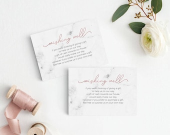Marble Rose Gold Wedding Wishing Well Card, Wishing Well Printable, Wedding Insert, Wish Well, Gift Registry card,PDF Instant Download #E039
