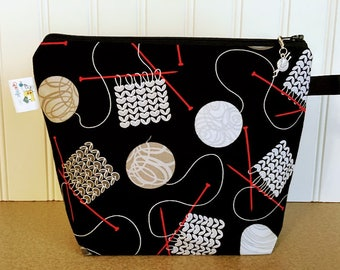 Black Knitting Bag decorated with yan
