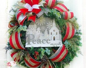 Christmas Lighted Wreath, Christmas Door Wreath, Evergreen Wreath, Christmas Decorations, Christmas Lighted Decor, Christmas Wreath
