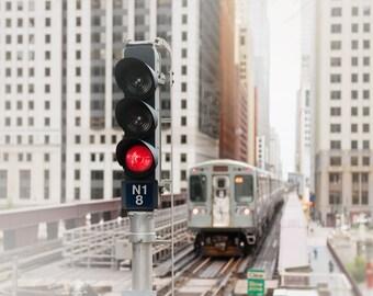 Chicago Photograph, Train Print, CTA El Train, Boys Room Wall Art - Chicago Skyline, Chicago Art, Loop Trains, Pop of Red, Urban Home Decor