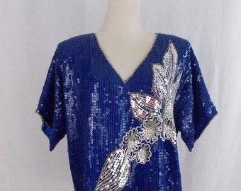 Bright Blue & Silver Sequin Trophy Top