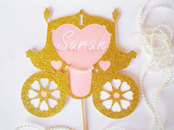Princess Carriage Cake Topper Personalized Age Topper Birthday