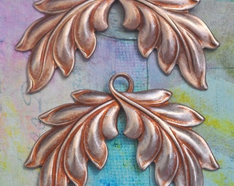 TWO Looped leaves, Brass Stampings, Charms, Metal Leaves, Metal Flowers, Rose Gold Ox