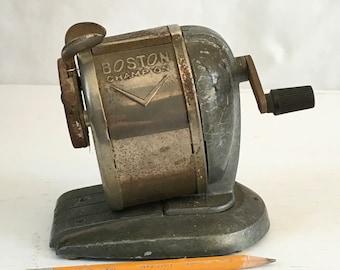 Vintage Boston Champion pinch feed mechanical pencil sharpener