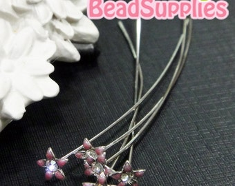 FN-HP-09001A-  Petite flower headpin, dusty pink, 6 pcs